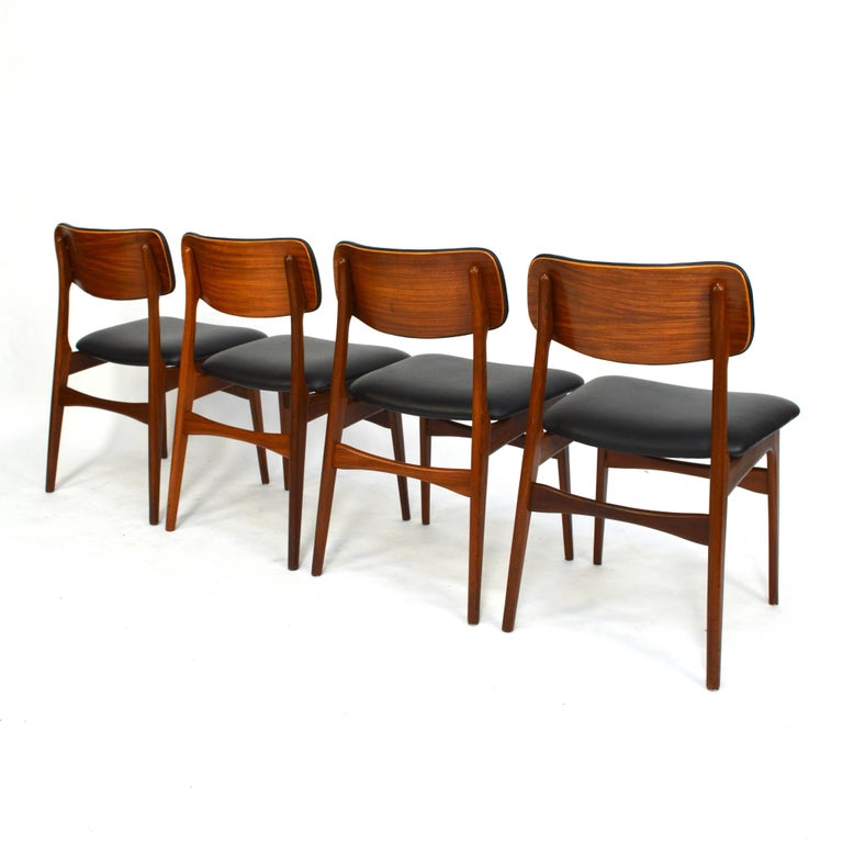 Scandinavian Dining Room Chairs: Scandinavian Danish Teak Dining Chairs With New Calf Skin
