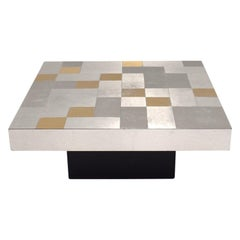 1970s Coffee Table with Aluminium Mosaic Top Gold and Silver Colored