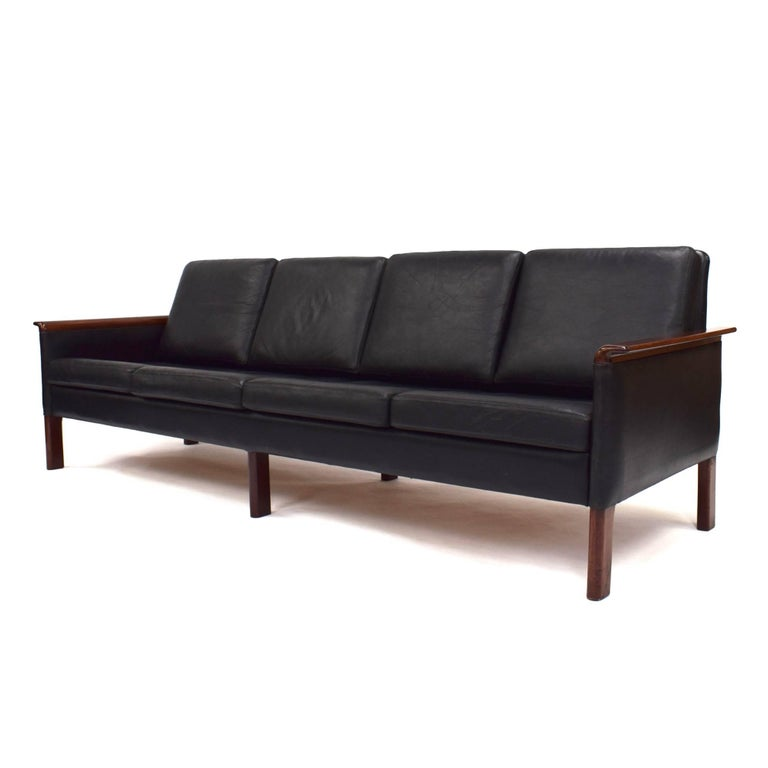 Black Leather Scandinavian Sofa Designer Unknown Manufacturer Country Scandinavia Model