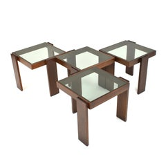 Cassina Modular Set of Four Stackable Nesting Tables by Gianfranco Frattini