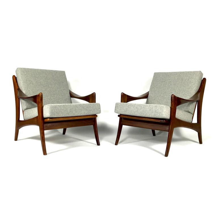 Pair Of Teak De Ster Gelderland Dutch Design Lounge Chairs