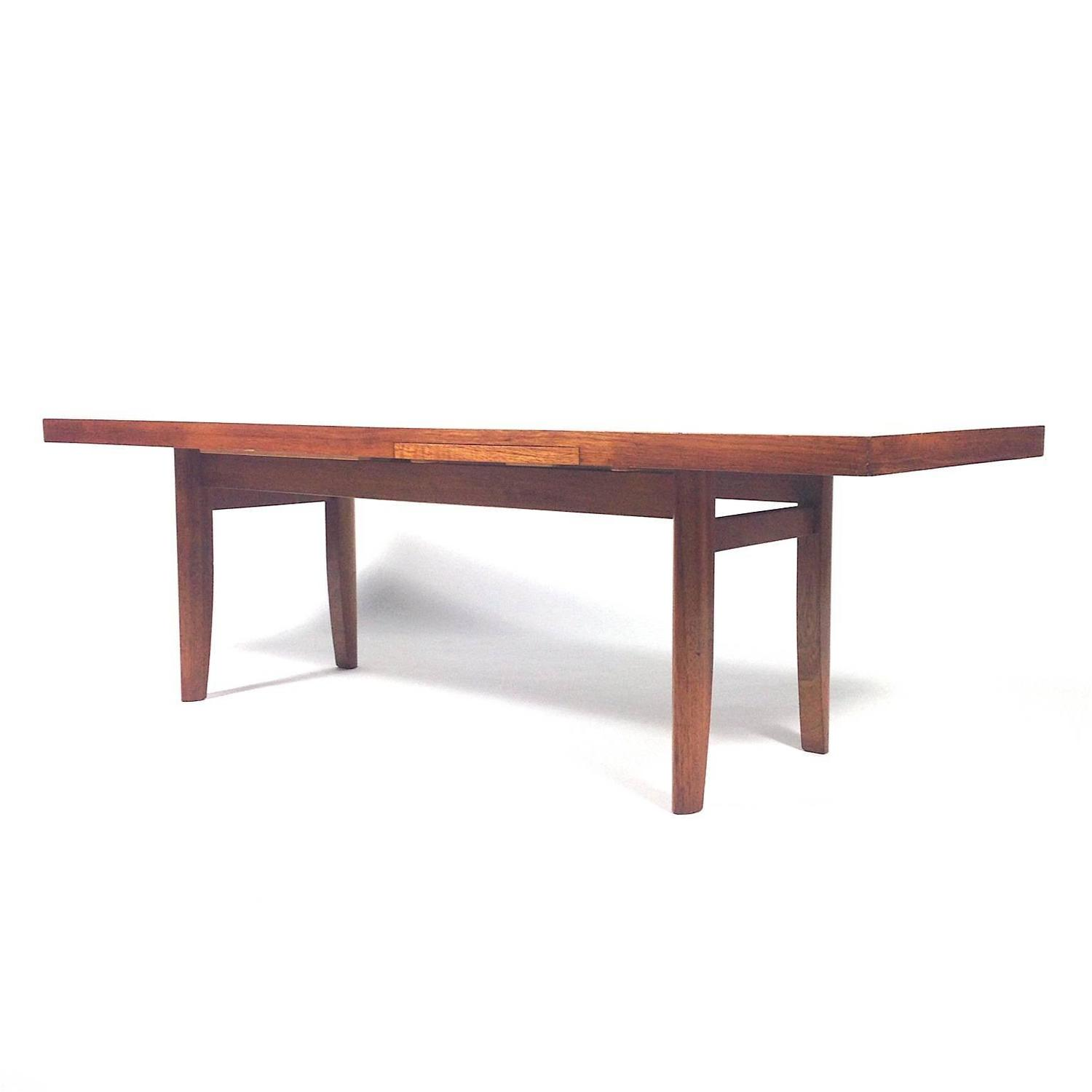 1960s Scandinavian Coffee Table With Extractable White Leaves At 1stdibs