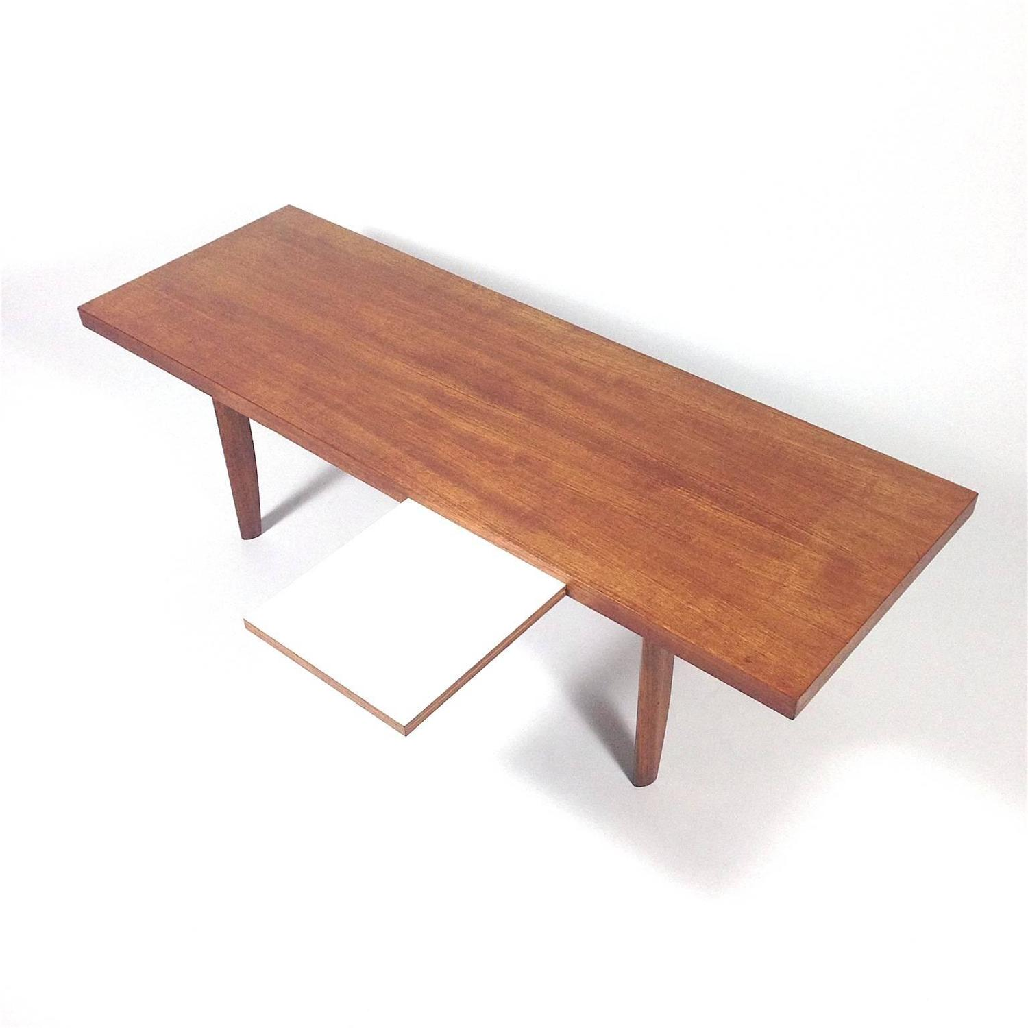 1960s scandinavian coffee table with extractable white for Table extractible