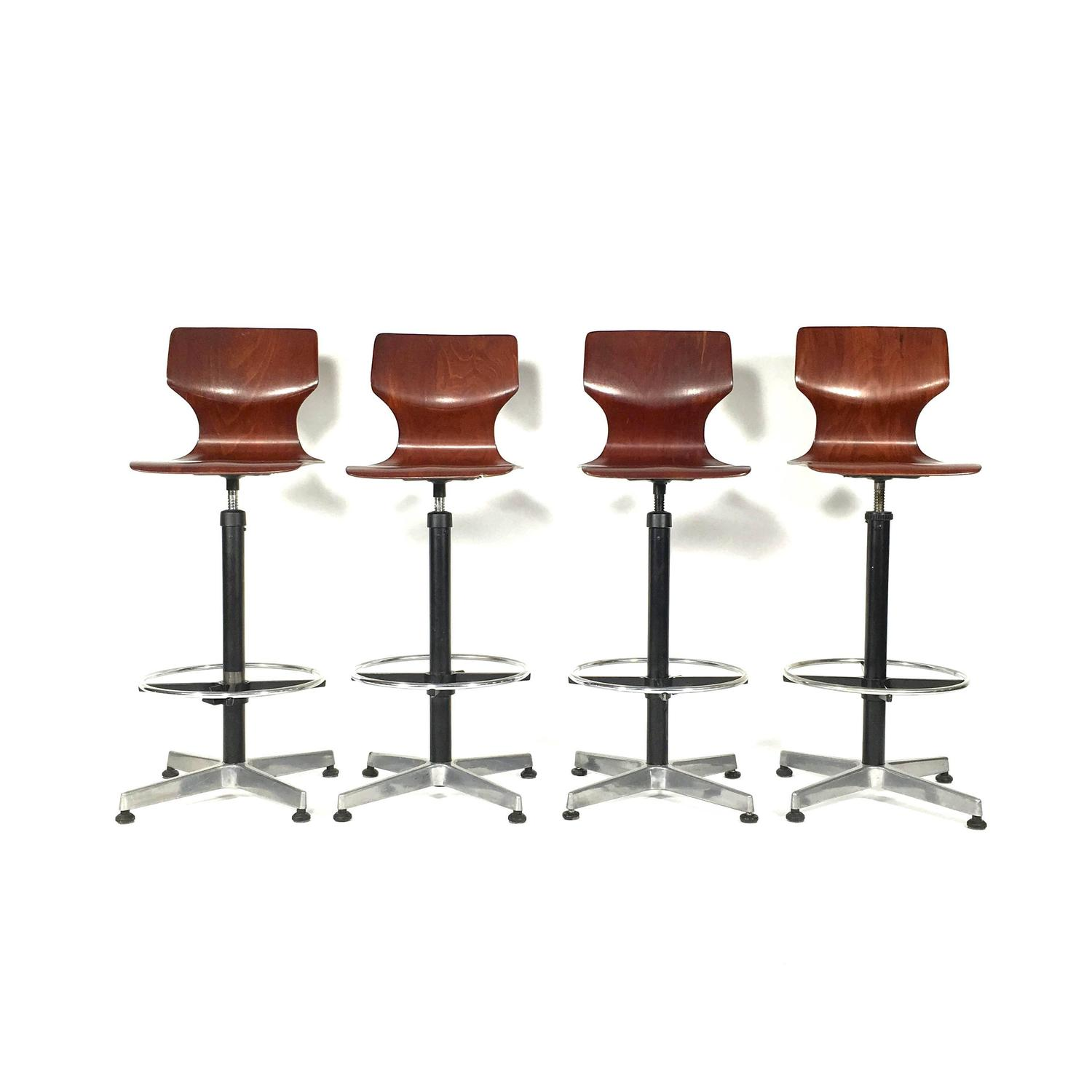 Unique Set Of Four Industrial Fl Totto Bar Stools Germany