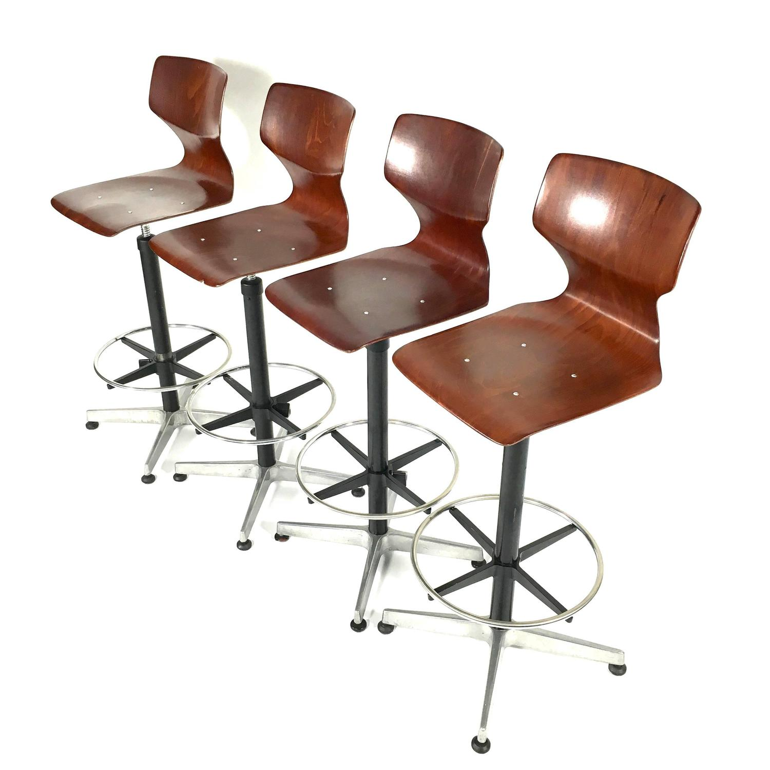 unique set of four industrial fl 246 totto bar stools germany