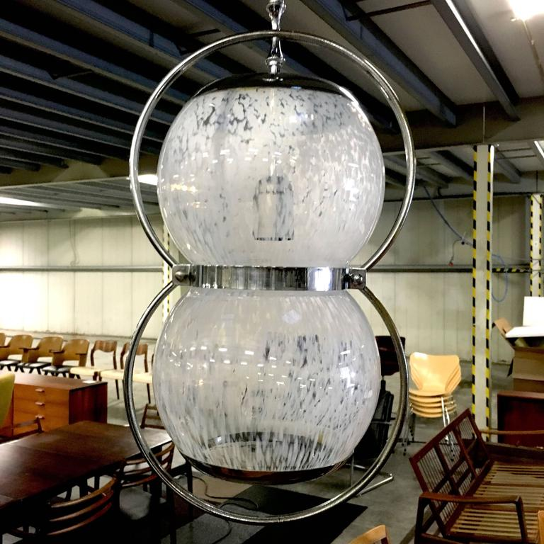 Pair of Midcentury Italian Murano Glass Pendant Lamps, 1950s-1960s In Good Condition For Sale In Pijnacker, Zuid-Holland