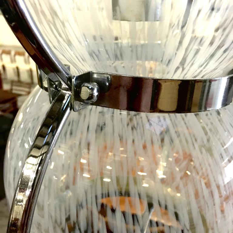 Mid-20th Century Pair of Midcentury Italian Murano Glass Pendant Lamps, 1950s-1960s For Sale