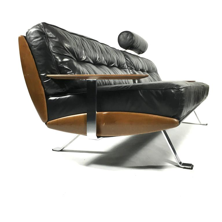 Walter Knoll Black Leather Sofa Germany 1960s 1970s at 1stdibs