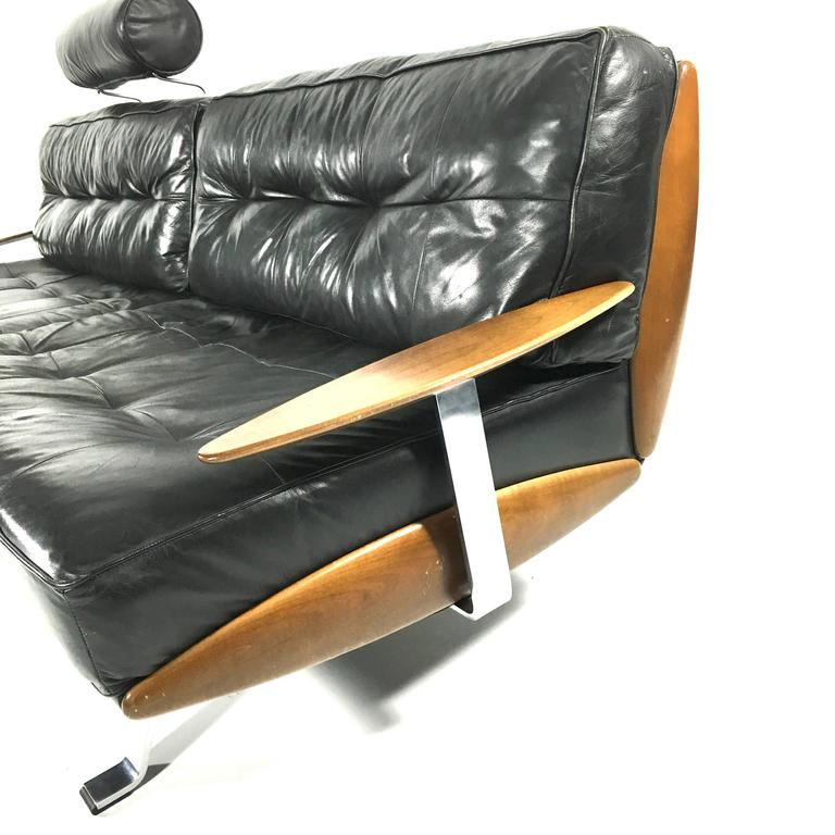 walter knoll black leather sofa germany 1960s 1970s at. Black Bedroom Furniture Sets. Home Design Ideas