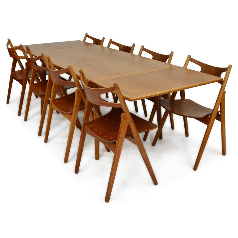 Hans Wegner At312 Sawbuck Dining Set In Teak And Oak At