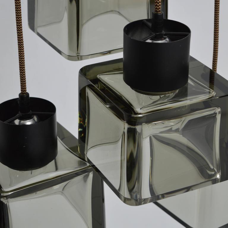 Very Rare Flavio Poli 'Cube' Pendant Lamp for Seguso, Italy, 1950s For Sale 3