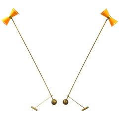 Stunning Stilnovo Style Italian Brass Counterweight Floor Lamps