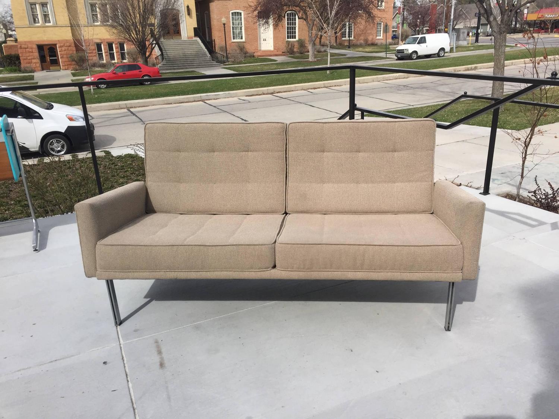 vintage florence knoll parallel bar sofa settee for knoll. Black Bedroom Furniture Sets. Home Design Ideas