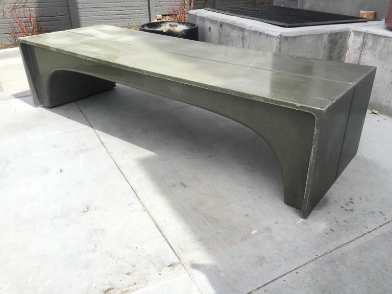 Mid-Century Vintage Stone and Fiberglass Architectural Bench 2