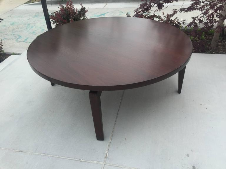 Restored Jens Risom Lazy Susan Coffee Table. Dark Walnut. It Is Functional  And In