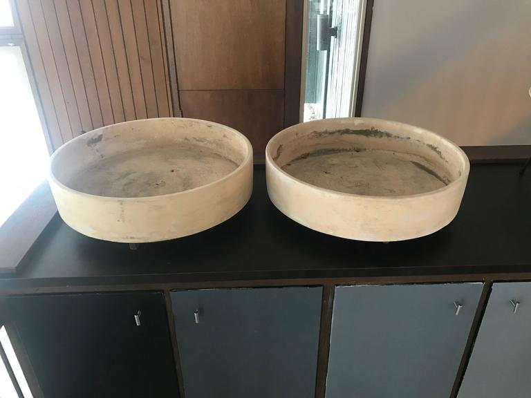 Pair Of Very Large Low Architectural Pottery Planters On