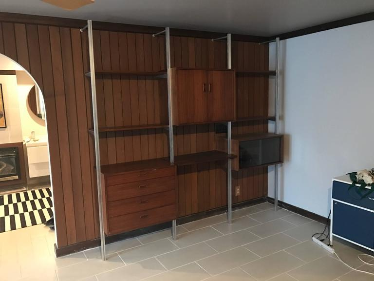 George Nelson Omni Storage Wall Unit Walnut, Three Bay  3