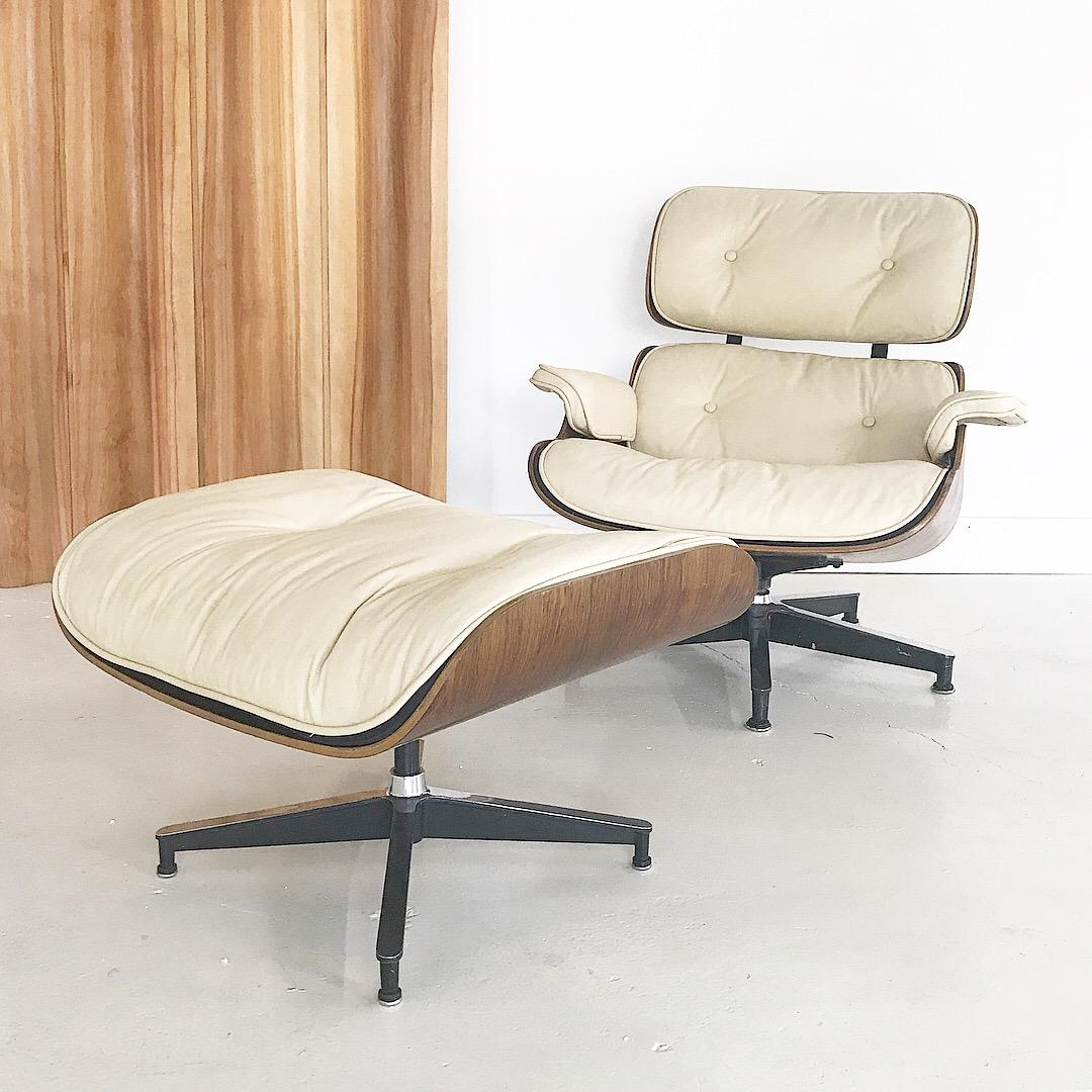 Early 1960s Eames Lounge Chair Custom White Leather By Herman Miller.  Amazing Condition.