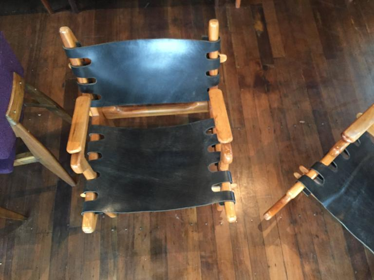 Pair Of Angel Pazmino Sling Rocker And Lounge Chair For