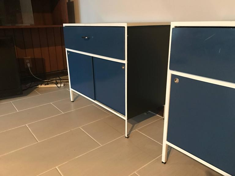 Pair of George Nelson Steel Frame Cabinets for Herman Miller 5