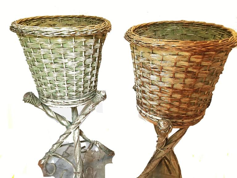 Victorian Wicker Pair Of Garden Baskets On Tripodal Bases