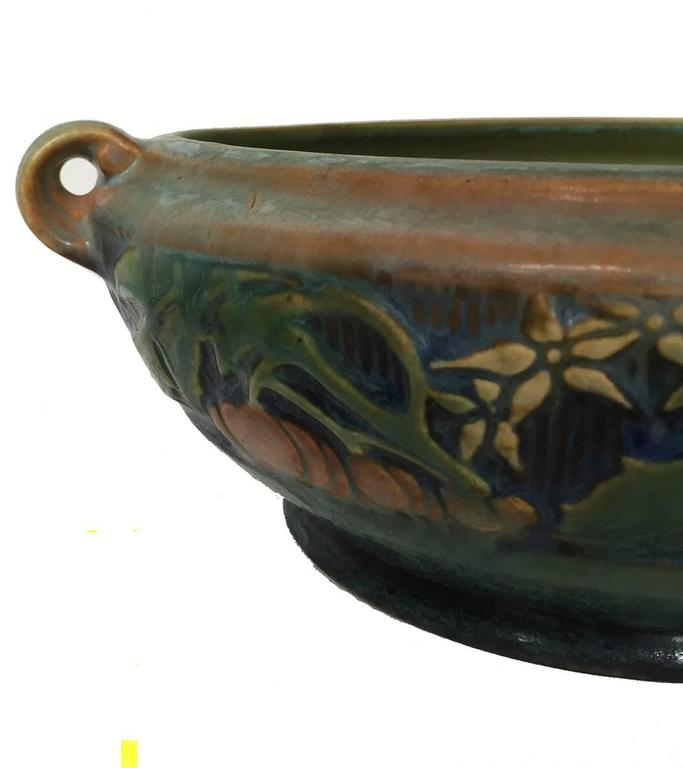 American Arts And Crafts Roseville Green Pottery Baneda Pattern Low Bowl At 1stdibs