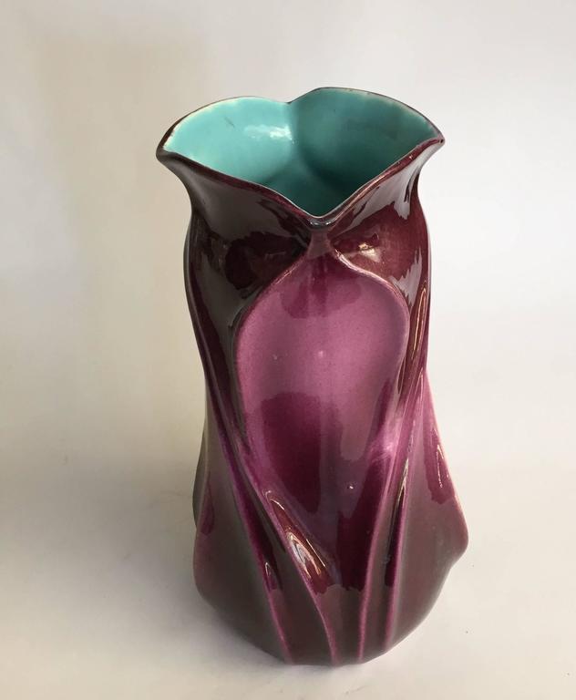 French Art Nouveau Sarreguemines Pottery Faience Floriform Vase For Sale At 1stdibs