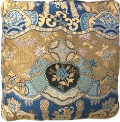 Pair of Square Chinoiserie Brocade Pillows Orange Brown and Blue