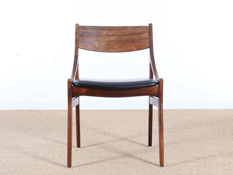 Beau Set Of Six Scandinavian Chairs In Rosewood Designed By H. Vestervig  Eriksen, Circa 1960