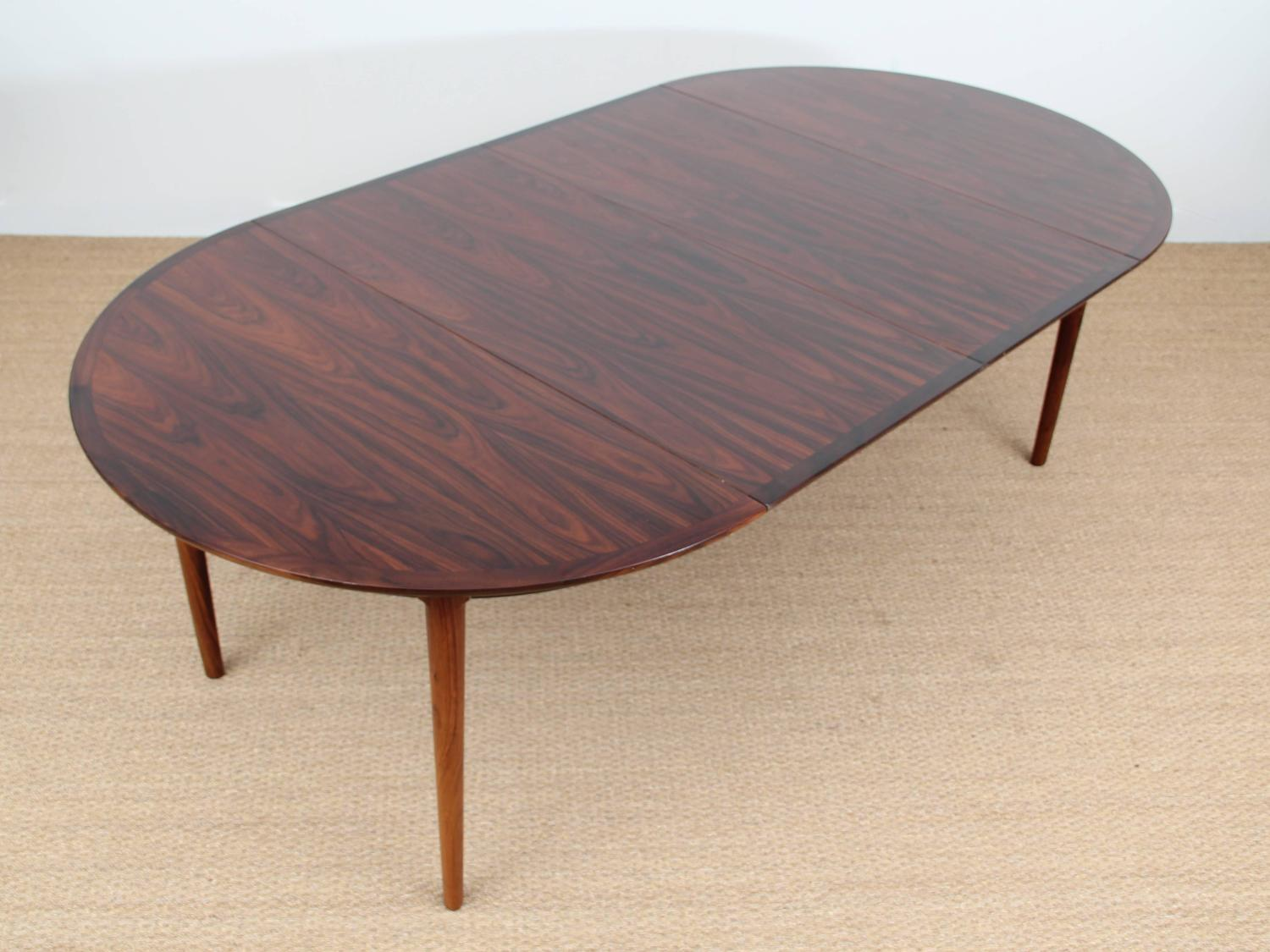 mid century modern danish extendable round dining table in rio
