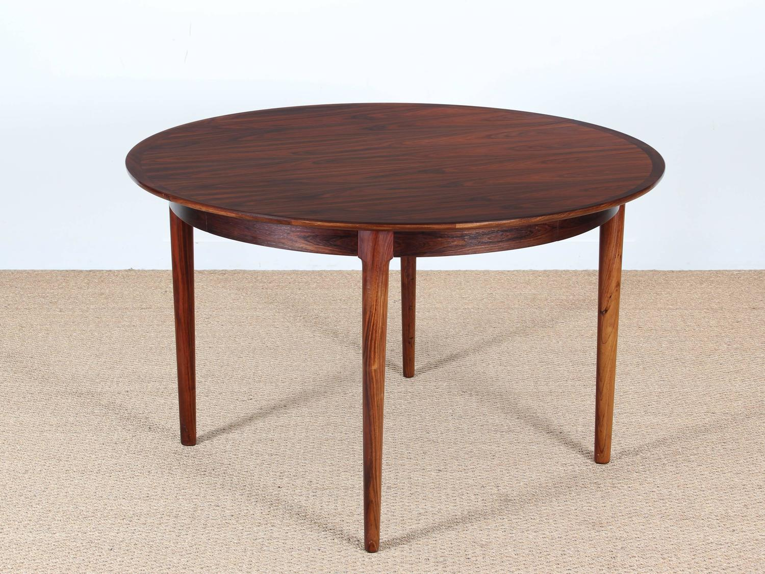century modern danish extendable round dining table in rio rosewood