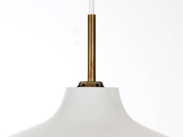 """Suspension opal """"Wohlert"""" of Vilhelm Wohlert for Louis Poulsen. Designed in 1949, it is sections for several size and is still produced. This model is old, the system électriqueest renovated and brought up to standard. Operates with"""