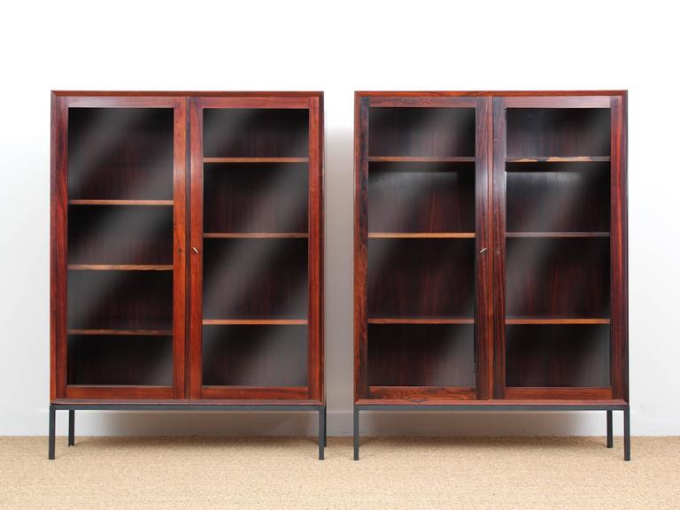Mid-Century Modern Danish Vitrine Bookcase in Rosewood For Sale 6