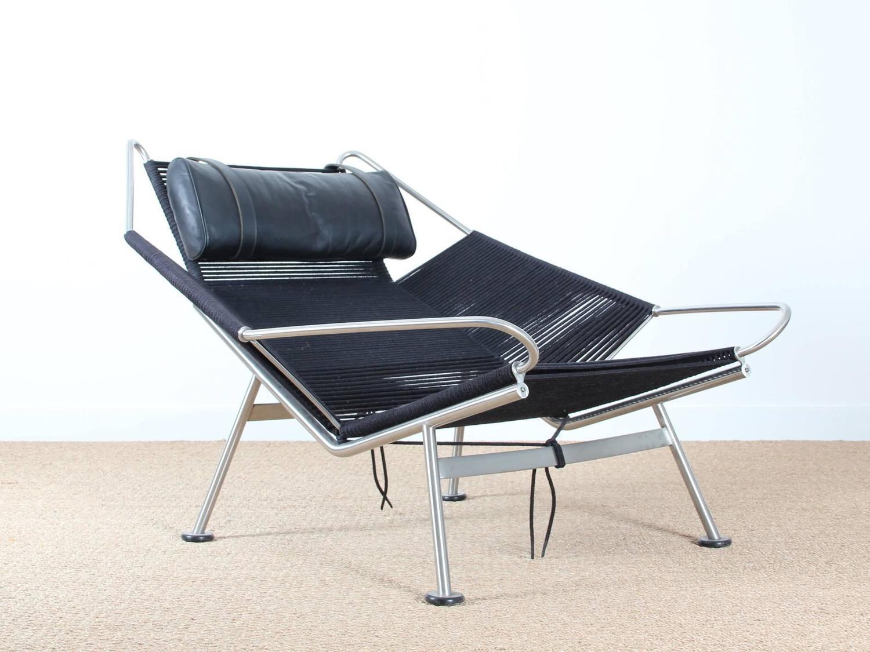 Lounge Chair Flag Halyard PP 225 by Hans Wegner New