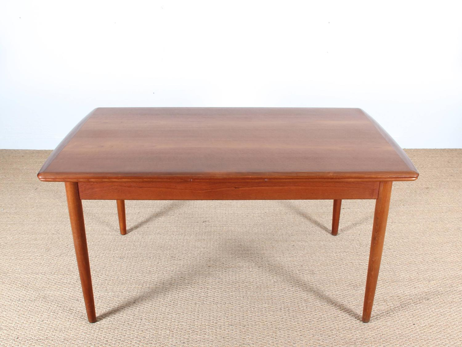 Mid century modern scandinavian dining table in teak seat for Dining room table 4 seater