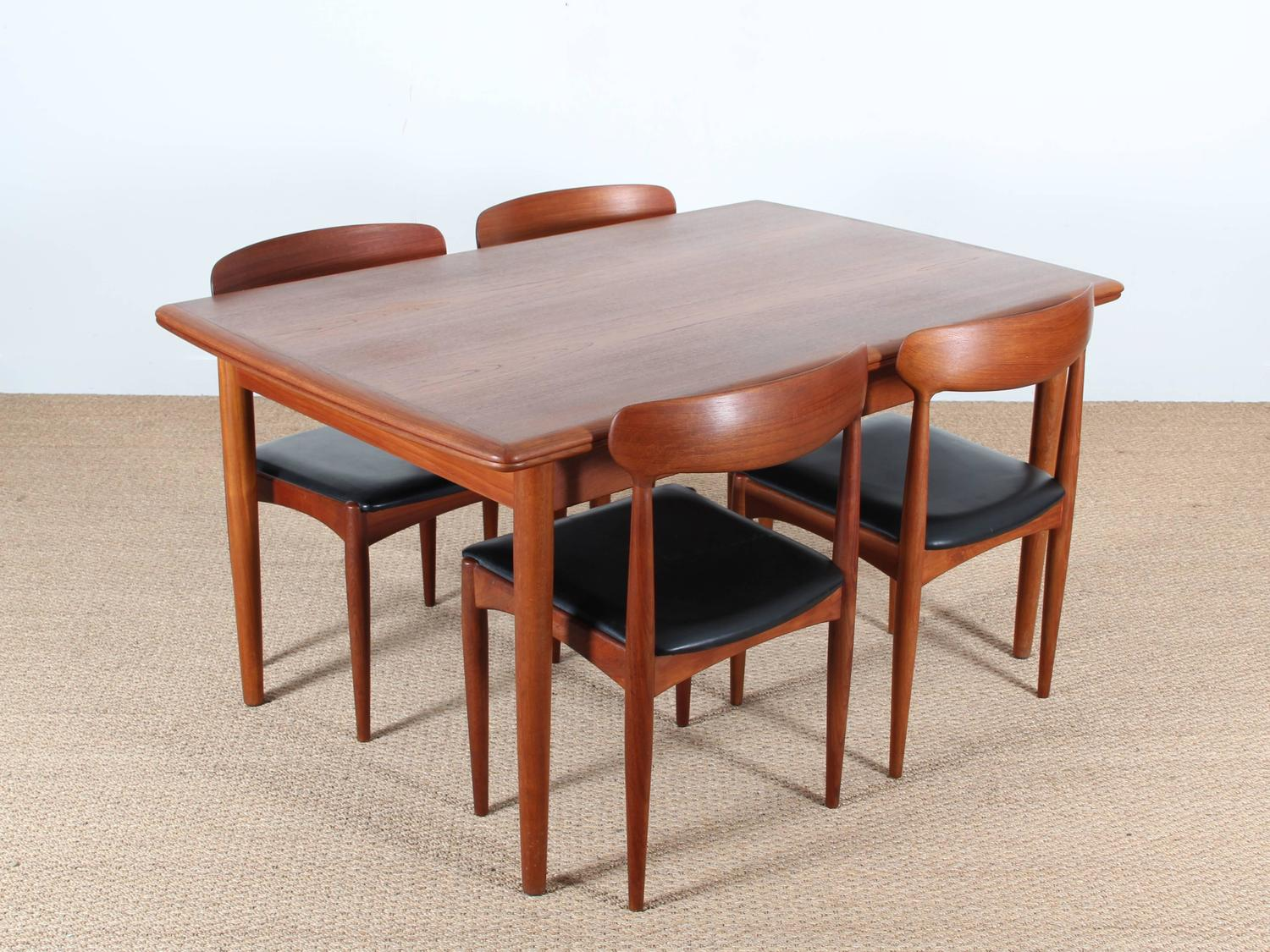 Mid century modern scandinavian dining table in teak seat for 10 seater table for sale