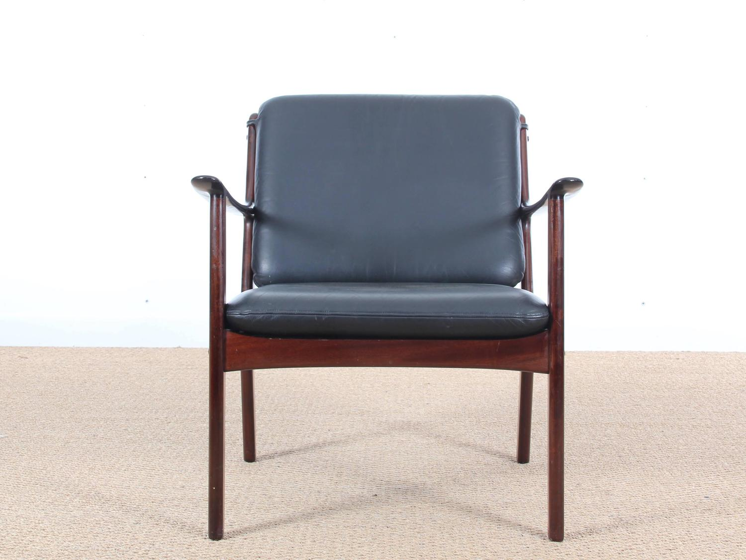 mid century modern danish lounge chair in mahogany model pj 112 by ole