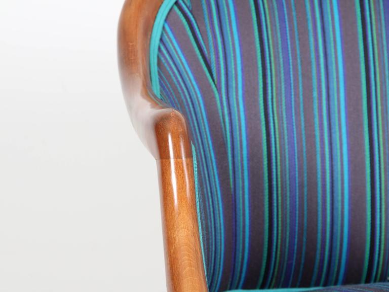 Mid-Century Modern Scandinavian Sofa Two Seats in Mahogany For Sale 2