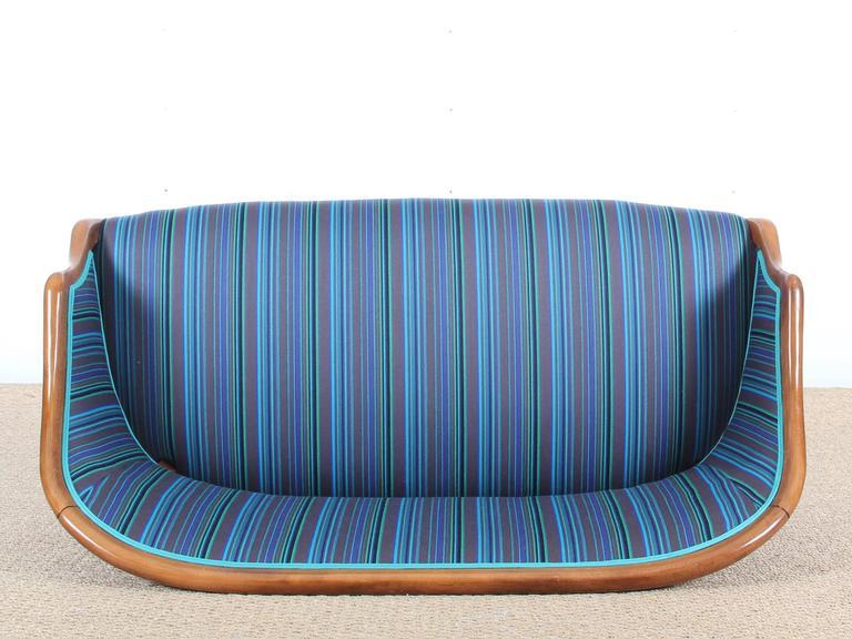 Mid-20th Century Mid-Century Modern Scandinavian Sofa Two Seats in Mahogany For Sale