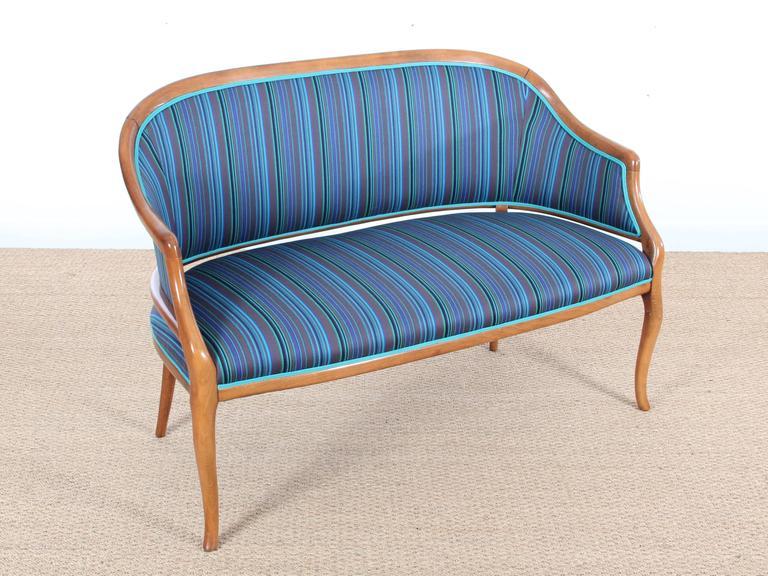 Mid-Century Modern Scandinavian Sofa Two Seats in Mahogany For Sale 1
