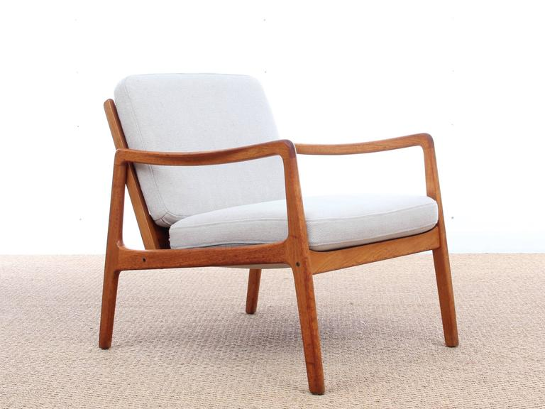 High Quality Mid Century Modern Danish Pair Of Lounge Chairs, Teak Model 110 By Ole  Wanscher
