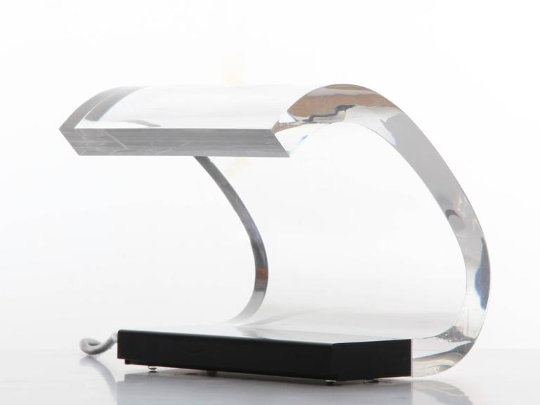 Joe Colombo, a table lamp, model Acrilica 281 for O-Luce. Joe Colombo, a table lamp, model Acrilica 281 for O-Luce. Designed in 1962, Gold Medal XIII Trienale. Construction made of plexiglass with stand made of metal varnished in black, the plexi