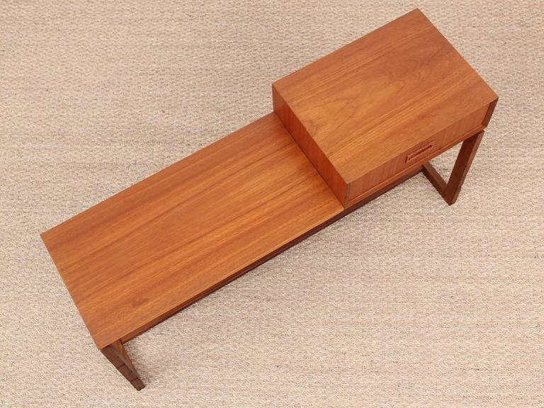 Mid Century Modern Scandinavian Bench And Mirror In Teak At 1stdibs