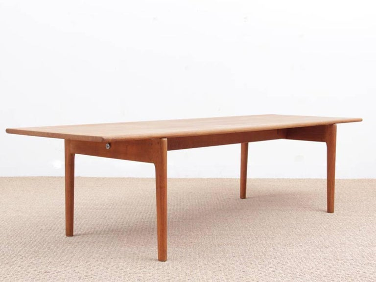 Mid century modern scandinavian coffee table in solid oak for Table bois nordique
