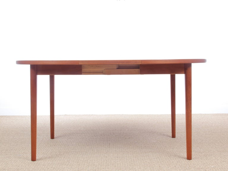 mid century modern scandinavian round dining table in teak by nils