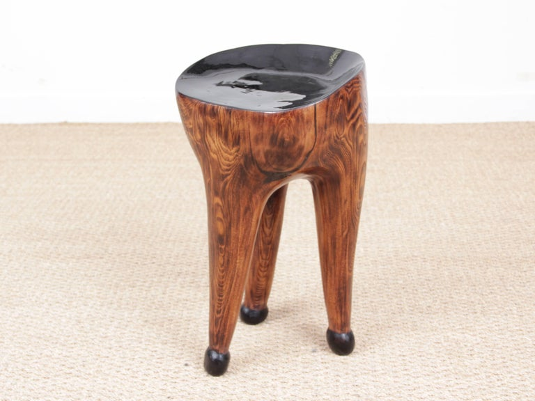 Three Legs Stool by French Sculptor Yvon, Unique Piece For Sale 1