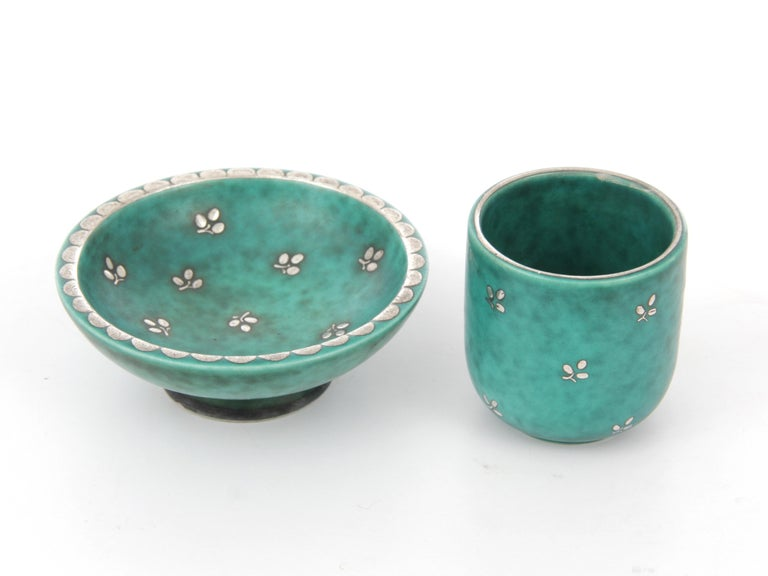 Set of small ceramic plate and cup, model Argenta by Wilhelm Kåge for Gustavsberg.