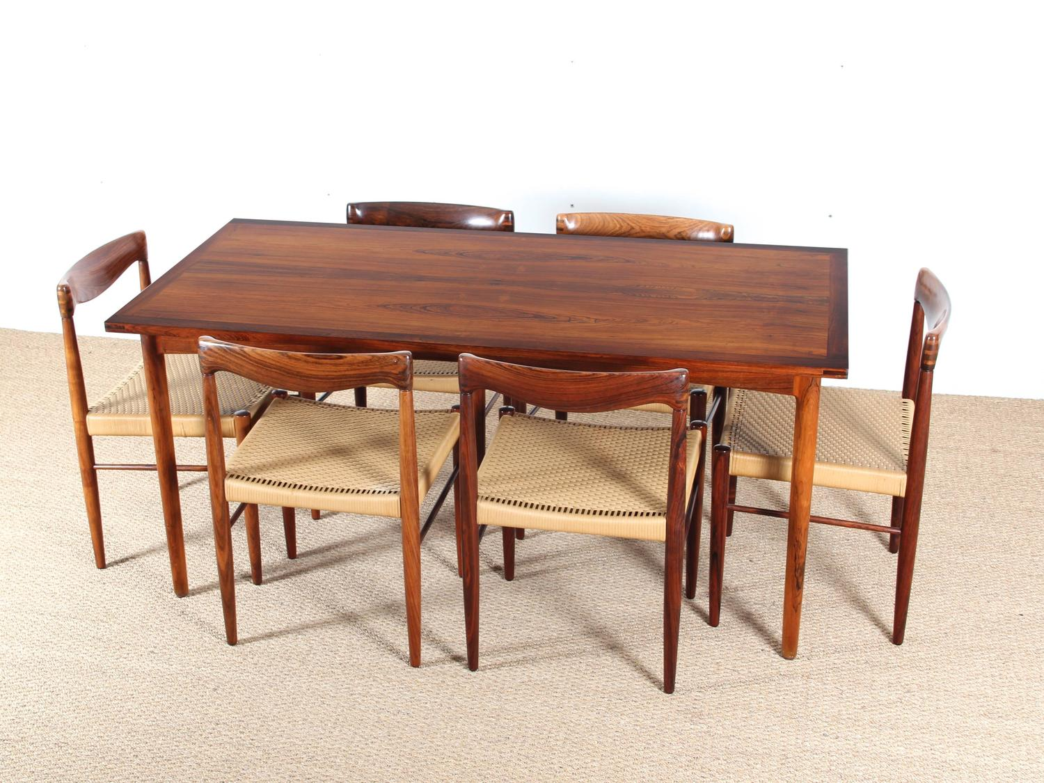 Mid Century Modern Scandinavian Dining Table In Rio Rosewood At