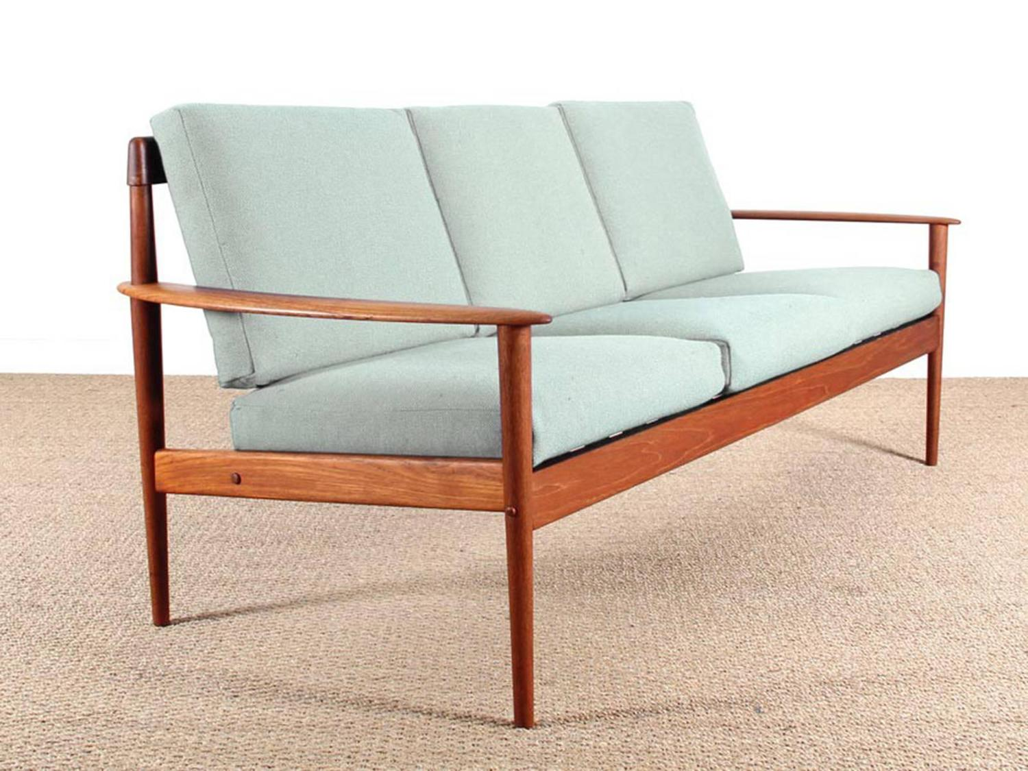 danish modern three seat sofa in teak model pj56 3 at 1stdibs. Black Bedroom Furniture Sets. Home Design Ideas