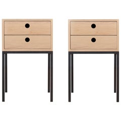 Pair of Bed Tables in Oak Model Fredericia, Two Drawers